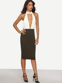 Multicolor Halter Backless Cutout Sheath Dress