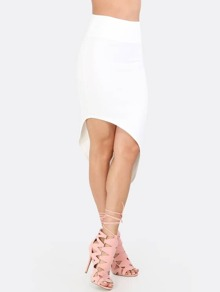 White Sexy Asymmetrical Skirt
