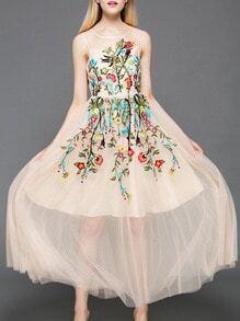 Nude Gauze Embroidered A-Line Dress