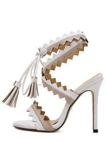 White Peep Toe Fringe Lace-up Heels