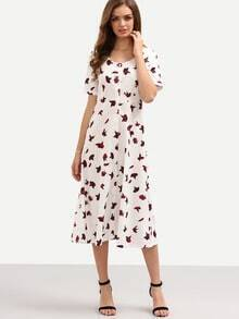 Buttoned Front Rose Print Long Dress - White