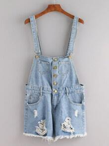 Buttoned Front Ripped Blue Denim Overall Shorts