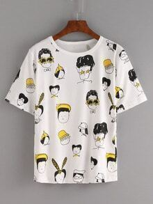 Cartoon Portrait Print T-shirt - White