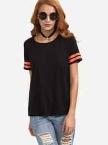 Black Short Sleeve Striped Cuff T-shirt