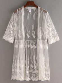 Open-Front Embroidered Mesh Kimono - White