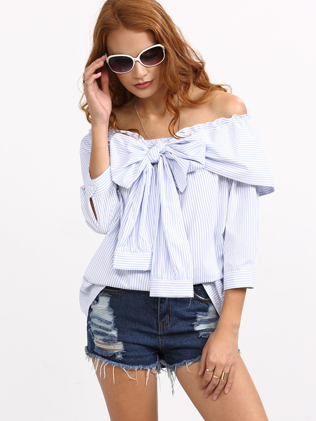 blue striped bow off the shoulder blouse emmacloth women fast fashion online. Black Bedroom Furniture Sets. Home Design Ideas