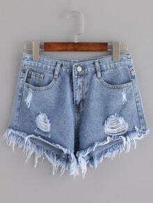 Blue Ripped Tassel Denim Shorts