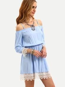 Lace Trimmed Cold Shoulder Dress - Light Blue