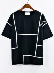 Contrast Binding T-shirt - Black