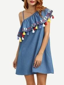 Blue One Shoulder Ruffle Tassel Embroidered Dress