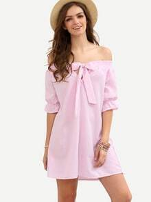 Pink Striped Bow Boat Neck Shift Dress