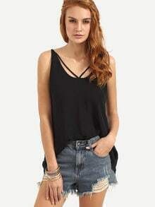 Black Hollow Back Tank Top