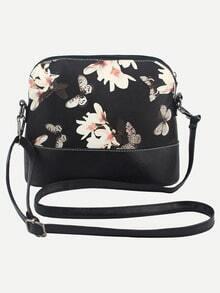 Flower & Butterfly Print Crossbody Bag - Black