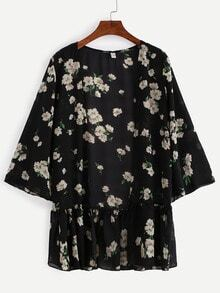 Ruffled Hem Flower Print Chiffon Kimono - Black