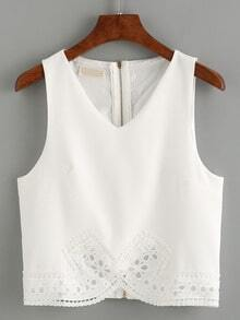 V-Neck Zip Back Lace Trimmed Tank Top - White