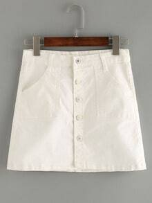 Buttoned Front White Denim Skirt