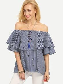 Multicolor Striped Ruffle Off The Shoulder Blouse