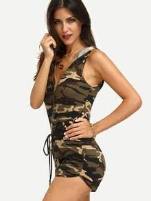 Multicolor Camouflage Sleeveless Hat Tie Zipper Jumpsuit