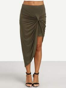 Army Green Pleated Asymmetrical Skirt