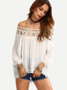 Off The Shoulder Crochet Hollow Out Shirt