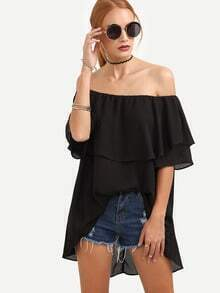 Black Off The Shoulder Dip Hem Blouse