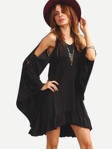 Black Bat Sleeve Open Back Ruffle Hem Dress