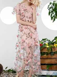 Pink V Neck Applique Pouf Organza Dress