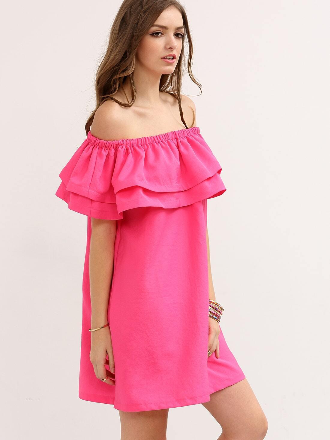 Hot Pink Off The Shoulder Ruffle Shift Dress EmmaCloth-Women Fast Fashion Online
