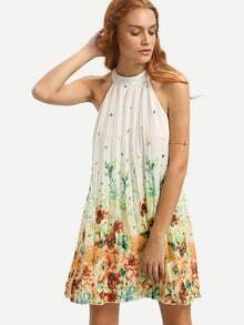 Multicolor Floral Mock Neck Sleeveless Shift Dress