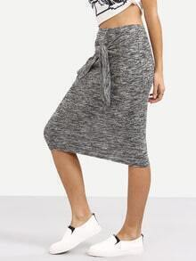 Grey Knotted Front Midi Skirt