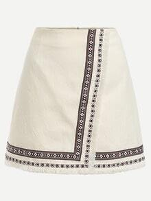 White Embroidered Tape Trimmed Wrap Skirt