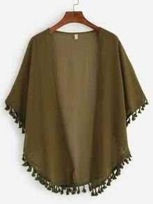 Olive Green Tassel Trimmed Chiffon Top