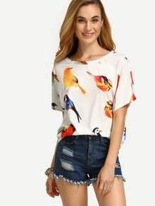 Multicolor Bird Print Short Sleeve T-shirt