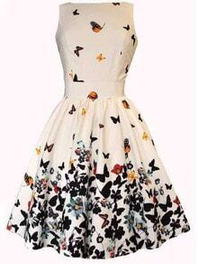 White V Back Butterfly Print Flare Dress