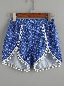 Blue Vintage Print Contrast Pom Pom Shorts
