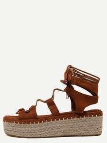 Brown Open Toe Lace-up Espadrille Sandals