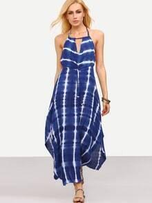 Blue Tie Dye Print Keyhole Backless Dress