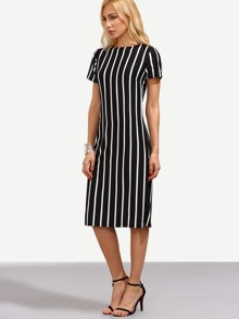 Black Vertical Striped Sheath Dress