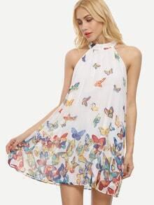 Multicolor Butterflies Print Sleeveless Shift Dress