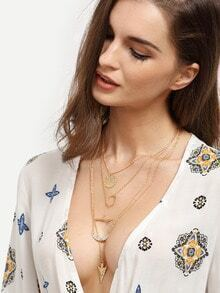 Golden Multilayer Geometric Pendant Necklace