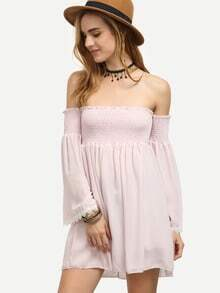 Pink Shirred Off The Shoulder Lace Trimmed Dress