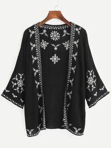 Black Embroidered Open Front Kimono