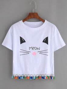 White Cat Print Tassel Trim T-shirt