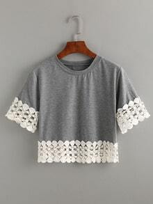 Grey Crochet Trimmed Crop T-shirt