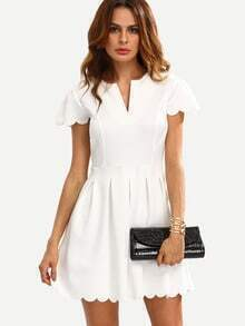 White V Cut Scalloped A-Line Dress