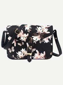 Black Flower Print Buckle Strap Flap Bag