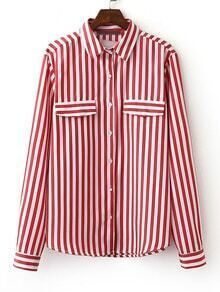 Red Long Sleeve Stripe Lapel Buttons Front Blouse