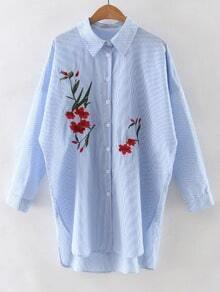 Blue Stripe Embroidery High Low Split Side Shirt Dress