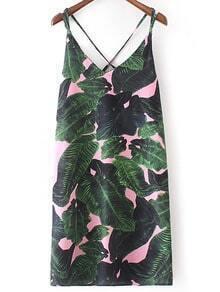 Green Leaves Printed Spaghetti Strap Criss Cross Dress