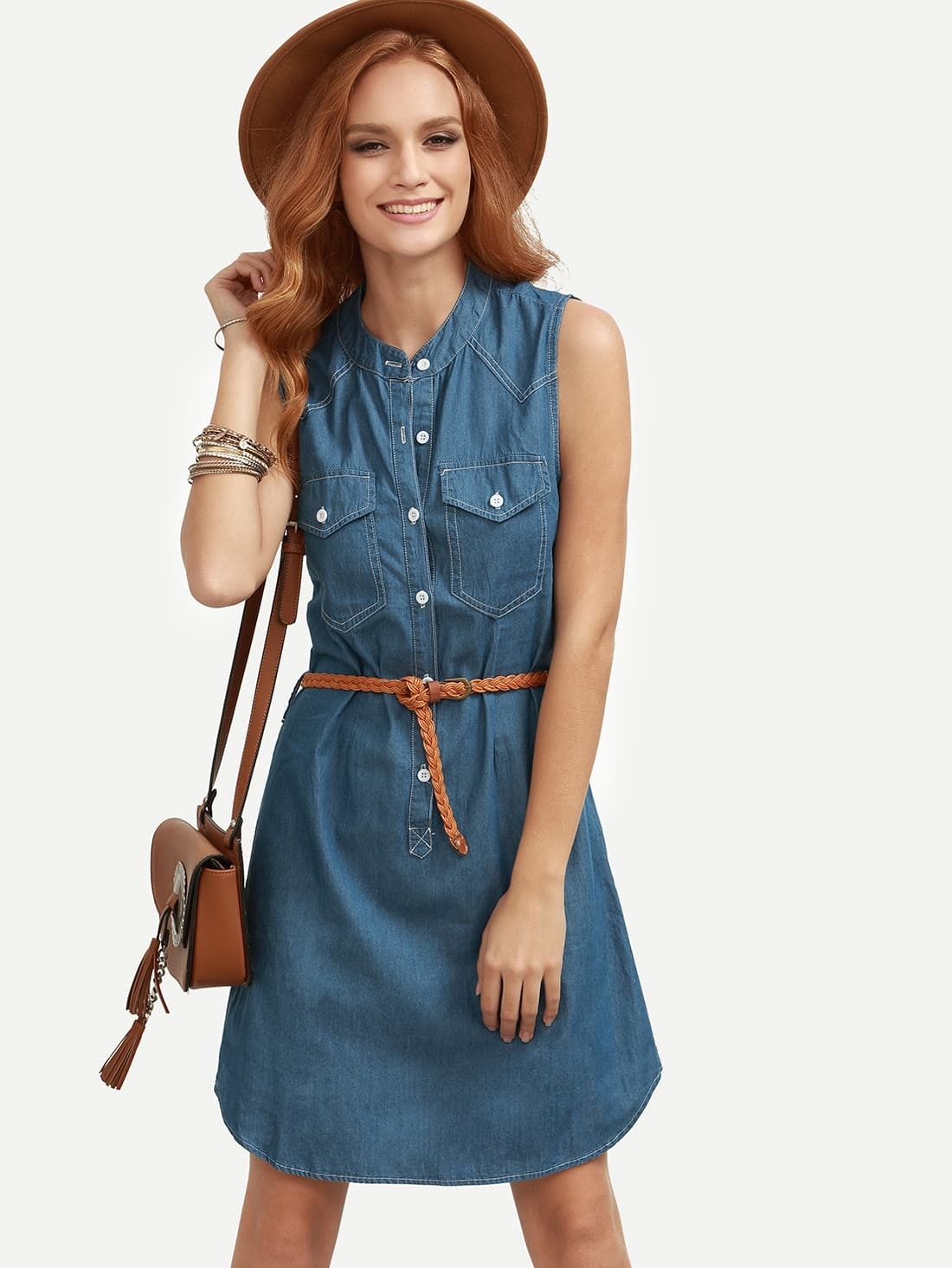 Blue Belted Sleeveless Denim Shirt Dress EmmaCloth-Women Fast ...